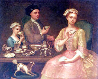 Family at tea in 18th century England